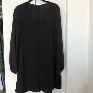 Black v neck dress with sheer sleeves
